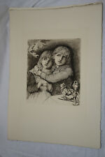 BABES IN THE WOOD c. 1890 Large Fine Etching Print HUBERT HERKOMER, Children