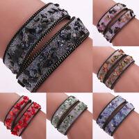 Women Punk Rhinestone Crystal Bracelet Leather Wrap Wristband Cuff Punk Bangle