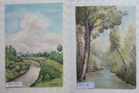 Pair Of Paintings Painted To Watercolour Landscapes Countryside Signed 1949