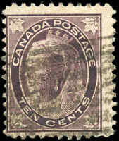 1897 Used Canada 10c F Scott #73 Queen Victoria Maple Leaf Stamp