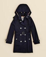 NEW $450 Burberry Girls Cotton Poplin Hood Trench Coat Jacket Navy Blue 7Y/122cm