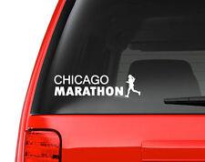"""Chicago Marathon Runner Girl - White 8"""" Vinyl Decal for Car, Macbook, ect."""