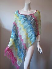 BCBG Max Azria Chevron Thin Knit Asymmetrical Hem Poncho One Size Fits All