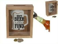 Dads Beer Fund Money Box With Glass Front And Bottle Opener Attached On The Side