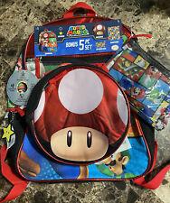New listing Super Mario School Backpack & Lunch Box Bonus 5 Piece Set