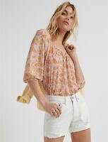 Lucky Brand Womens Square Neck Printed Heritage Peasant Top Multi Size Large
