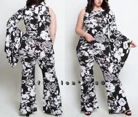 Plus Size Black White Floral Flare Leg Jumpsuit One Shoulder Kimono Bell Sleeve