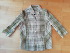 Damen Bluse, 3/4- Arm, YESSICA, Crinkle, kariert beige-grün, G. 40, Baumwolle