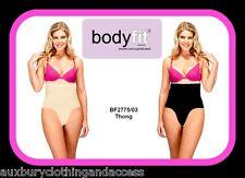 Womens Bodyfit High Waist Control Thong Ladies Silicon Anti Slip Band Shapewear Large 14/16 Nude