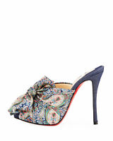 New Christian Louboutin Moniquissima Paisley Heel Slide Sandal Pump Mule  37