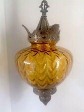 VINTAGE AMBER PENDANT SWAG HANGING LIGHT LAMP w/DIFFUSER Hollywood Regency