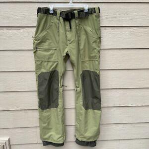 BURTON Mens Green DryRide Cargo Ski Snowboard Winter Pants With Belt Size XXL