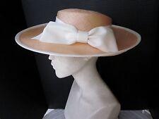 ERIC JAVITS  DESIGNER WIDE BRIM STRAW  HAT ... WHITE BOW & TRIM..  UNWORN