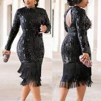 Sequined Dress Tassels Hem Long Sleeve High-elastic Bodycon Women Midi Dress