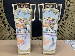 "Vintage Imperial Nippon Hand Painted Moriage 12"" Vase Set Japan Art Deco Pair"