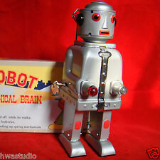 MS645 Vintage Robot Light Tin Toy Wind Up Action Retro Style Adult Collectible