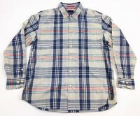 TOMMY BAHAMA Men's XL Blue Red Plaid Check Long Sleeve Button Front Casual Shirt