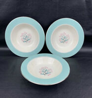 "3 Homer Laughlin Eggshell Cavalier Turquoise Pink Soup Bowls Dish Platinum 6""x1"""