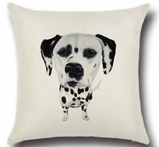 CUTE SPOTTIE DOG Throw Cushion Vintage Cotton Linen Pillow & ECO FRIENDLY INSERT