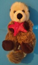 Plush Floating Brown Sea Otter Holding Red Starfish