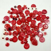 Button Lot Vintage Red Round & Rocking Horse Heart Plastic Buttons Mixed Lot