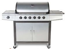 CosmoGrill 6+1 PRO BBQ Barbecue Gas Grill Silver With Side Burner Outdoor