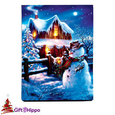 Christmas Decorations - Snowman LED Light up Canvas Picture - 40cm x 30cm - D1