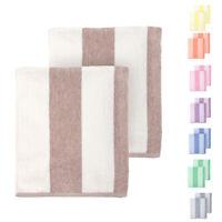 Cabana Beach Towel 2 Pack- 30 x 70 Over-Sized Striped Cotton Pool Bath Towel Set