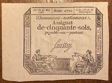 ASSIGNAT DE 50 CINQUANTE SOLS 1793 RÉVOLUTION BANKNOTE (BILL 120)