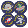 Space Theme 'Thanks for coming to my party' stickers, for party bags, 30 or 60mm