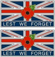 """2 POPPY STICKERS WITH UNION JACK """"LEST WE FORGET"""" - for cars, tablets, laptops.."""