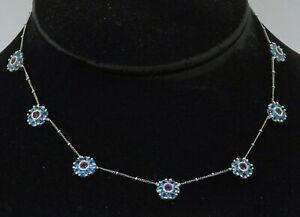 Heavy 18K WG beautiful 5.25CT Blue topaz/Pink tourmaline cluster flower necklace