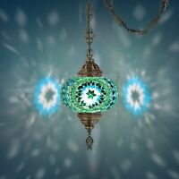 """Mosaic Lamp,15 feet chain chandelier hanging on the ceiling(6.5""""Tealgreen Globe"""