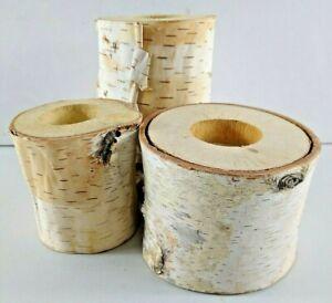 Birchwood Tea Light Candle Holders Centerpiece 3 Piece Weddings Real Wood Rustic