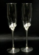 Vintage Crystal Flutes Open Hearts Toasting Glasses Champagne Glass Wedding Glas