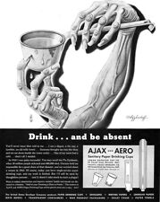 Boris Artzybasheff Ajax Aero Sanitary Cups FLU EPIDEMIC Plague 1943 Print Ad