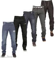 Enzo Mens Jeans Regular Fit Straight Leg Denim Trousers Pants All Waist Sizes
