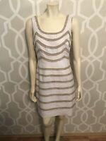 TRINA TURK Women's Sleeveless Sheath Dress 4 6 Small Ivory Tan Linen Cotton
