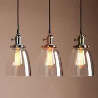 "5.7"" VINTAGE INDUSTRIAL PENDANT LIGHT CEILING LOFT CAFE LAMP CLOCHE GLASS SHADE"