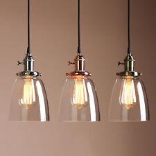 "5.7"" VINTAGE INDUSTRIAL PENDANT LIGHT CEILING LOFT CAFE LAMP CLOCHE GLASS SHADE"