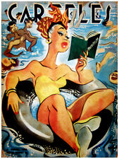 "11x14""poster on CANVAS decor.Room art.Woman reading in the Beach.6810"