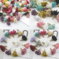 20 stücke Chiffon Blume Anhänger Schmuck Ohrring Schlüsselanhänger Anhänger C8Y9