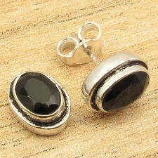 Fashion Week !! 925 Silver Plated BLACK ONYX Gossip Girls STUD Earrings 0.4 Inch