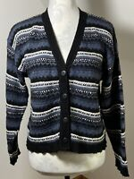 C&A Honey Women's Size 14 Blue Grey Cardigan Global Nation Wool Blend