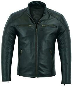 Men's Fashion Real Cowhide Leather Jacket Black