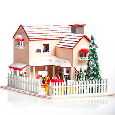 Wooden Dollhouse Miniatures DIY House Kits Led Light+Music Box Christmas Eve