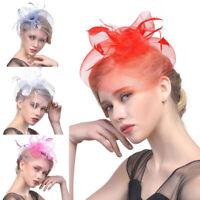 Women Mini Hat Top Hair Clips Fascinator Mesh Feather Cap Veil Wedding Net Party