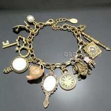 Gold Fairytale Princess Charms Alice in Wonderland Girl Cuff Bangle Bracelet