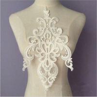 Large 3D Lace Floral Wedding Motif Embroidery Applique Sew Cute White Dress Trim