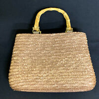 St. Johns Bay Woven Straw Bamboo Wood Handle Handbag Summer Purse